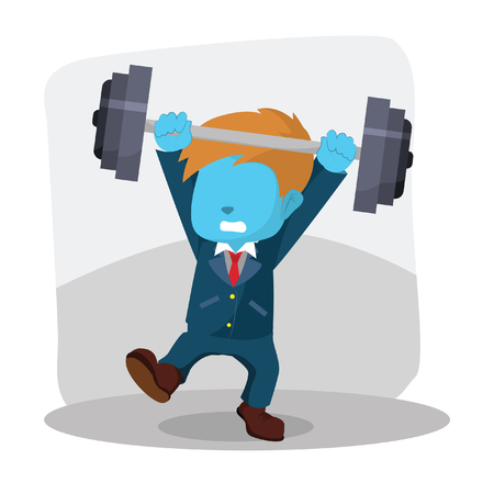 Blue businessman unbalanced dumbell– stock illustration