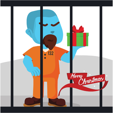 Blue convict got a christmas present– stock illustration Illustration