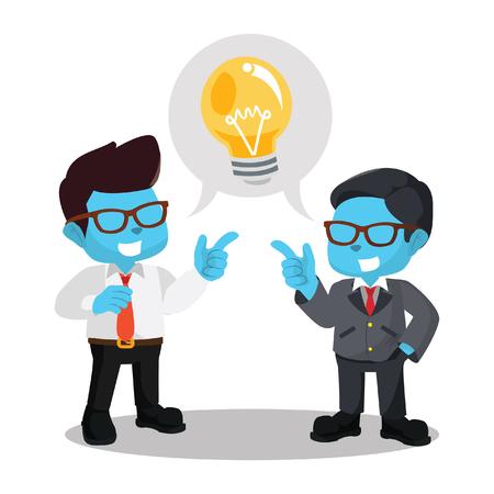 Blue businessman chat for innovation– stock illustration