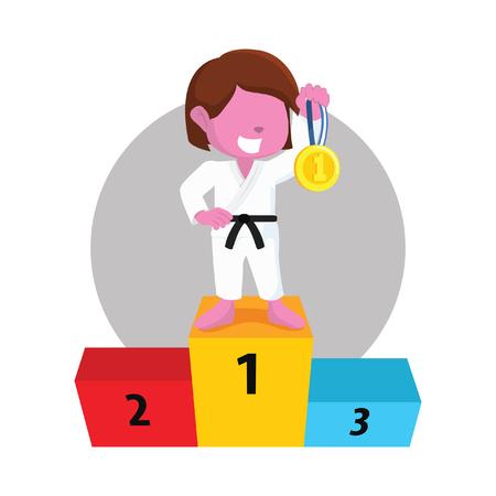 Pink karate girl gets medal– stock illustration Çizim