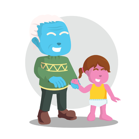 Blue grandfather with his grandchild– stock illustration.