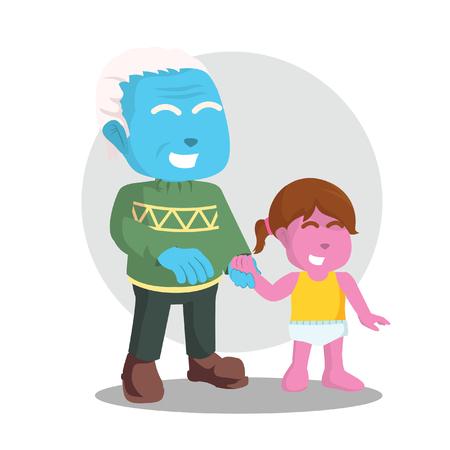 彼の孫と青い祖父 - ストックイラスト。