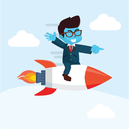 Blue businessman sitting on top of a rocket flying in the air– stock illustration