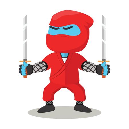 Blue ninja holding dual sword– stock illustration Illustration