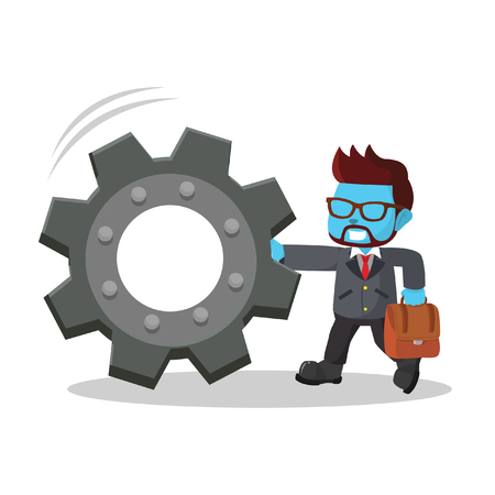 Blue businessman pushing gear– stock illustration