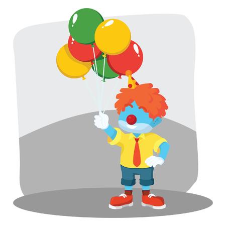 Blue clown holding balloons– stock illustration Illustration