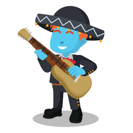 Blue mariachi playing guitar– stock illustration
