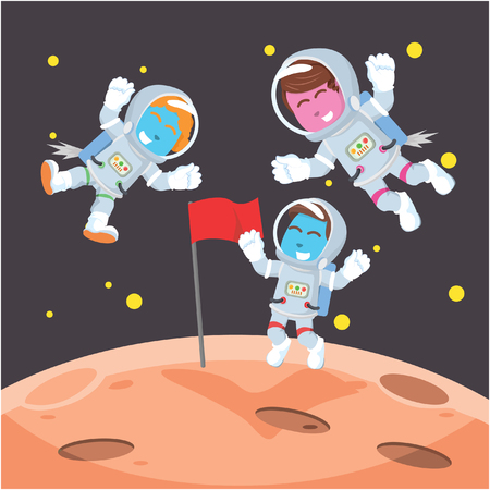 Group of astronaut putting flag on moon– stock illustration