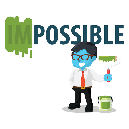 Blue businessman repainting impossible word– stock illustration