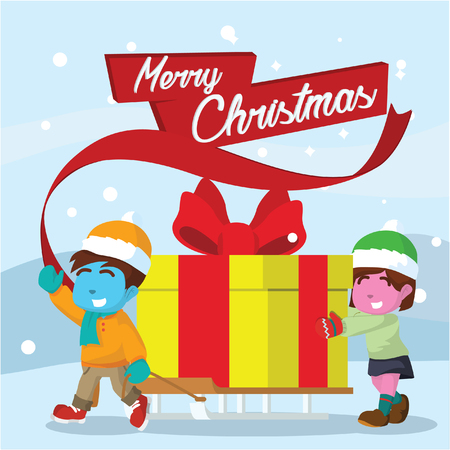Blue boy and pink girl carrying big christmas present using sled– stock illustration