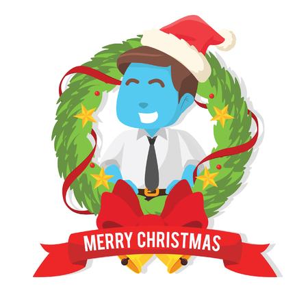 Blue business man inside christmas wreath– stock illustration Vettoriali