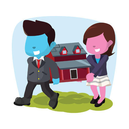 Blue businessman and pink businesswoman carrying miniature house– stock illustration Banque d'images - 93318752