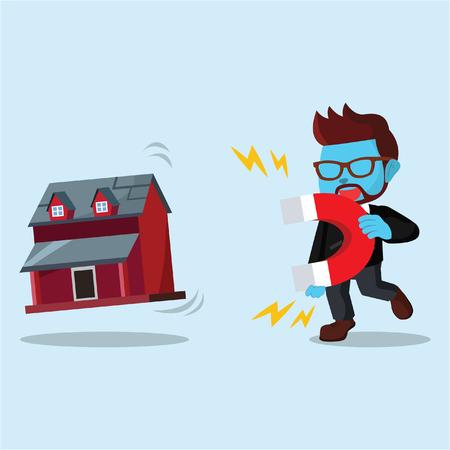 青いビジネスマンがマグネサでミニチュアハウスを引っ張る」ストックイラスト