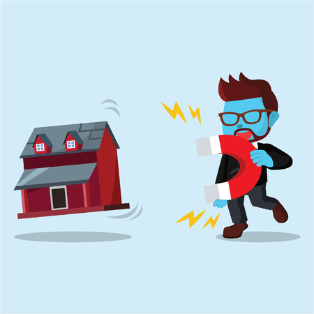 Blue businessman pulling miniature house with magnet– stock illustration