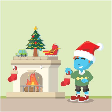 Blue boy preparing for christmas sock– stock illustration Illustration