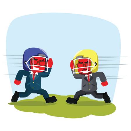 Blue businessman with rugby helmet charging to each other– stock illustration