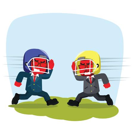 Uomo d'affari blu con casco da rugby che si carica a vicenda - illustrazione di riserva Archivio Fotografico - 93311395