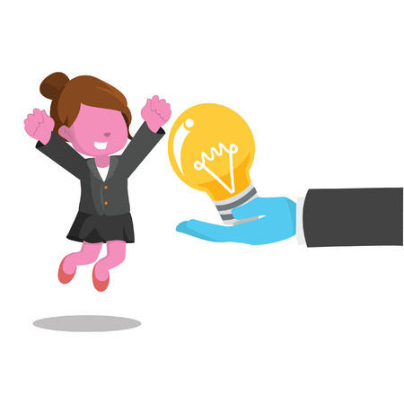 Pink businesswoman happy because get a bulb– stock illustration Illusztráció