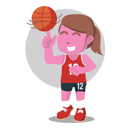 Pink female basketball player spinning the ball– stock illustration