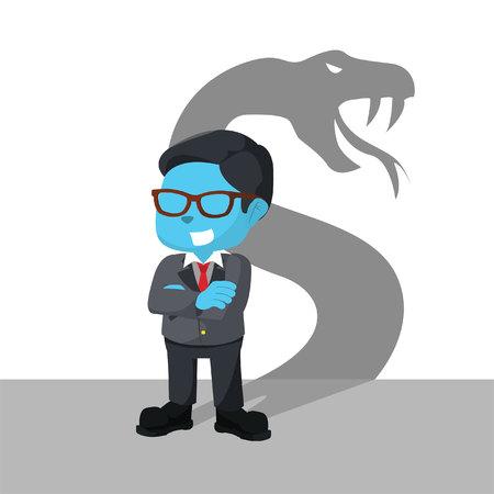 Blauwe zakenman met schaduw snakeà ¢ â?¬â ? ? stockillustratie