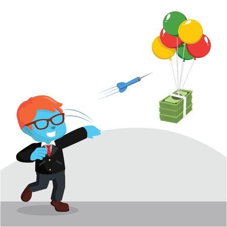 ●空飛ぶお金のストックイラストにダーツを投げる青いビジネスマン。