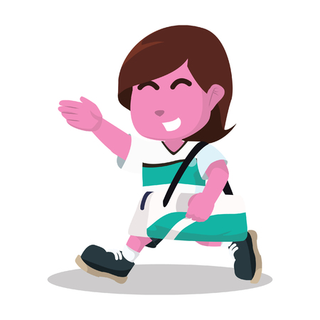 Pink female soccer player walk carrying bag– stock illustration