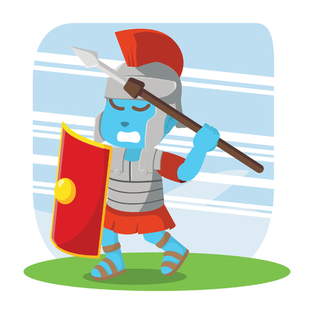 Blue roman soldier taking spear for throwing stock illustration.