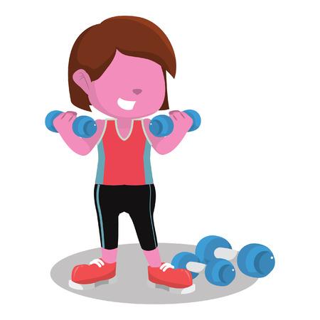 Pink girl exercising with dumbell– stock illustration Çizim