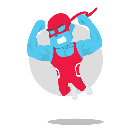 Blue wrestler jump illustration design– stock illustration