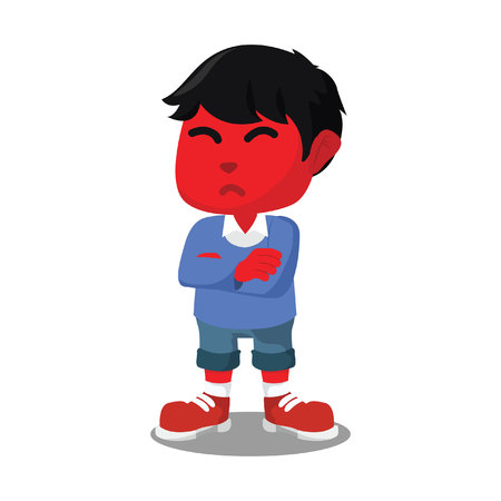 Red boy with angry face– stock illustration.