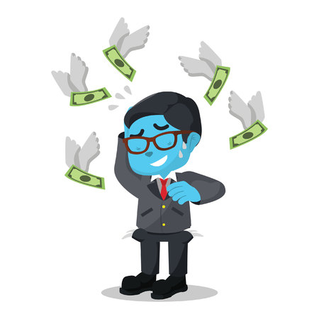 Blue businessman do not have any money in pocket– stock illustration.