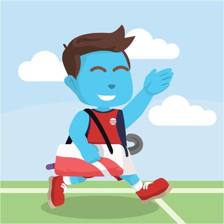 """Blauwe hockey speler lopen na de matchâ ? """"stock illustratie Stock Illustratie"""
