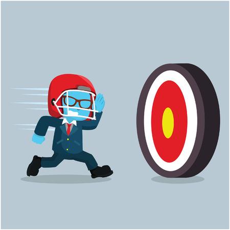 青いビジネスマンがターゲットに走る」ストックイラスト  イラスト・ベクター素材
