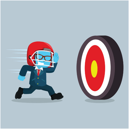 Blue businessman running to a target– stock illustration