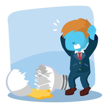 Blue businessman breaking light bulb– stock illustration