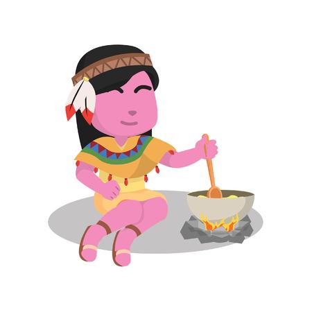 Pink indian girl stirring porridge– stock illustration