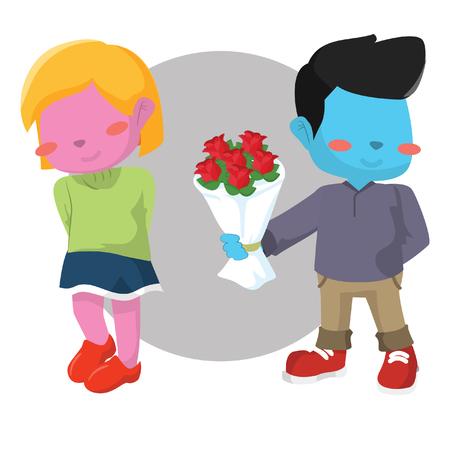 Blue boy giving pink girl rose– stock illustration