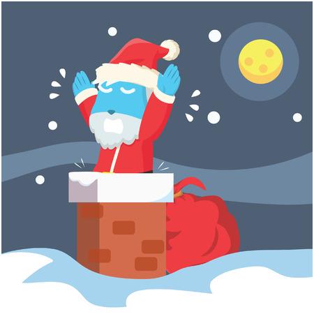 Blue santa stuck in chimney– stock illustration Illustration