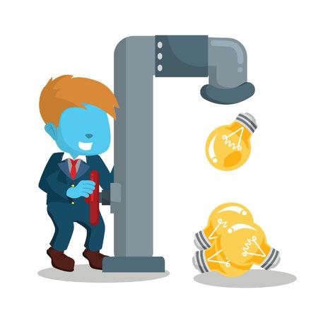 Blue businessman releasing bulb from faucet– stock illustration Illustration