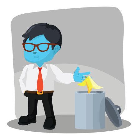 青いビジネスマンは、ストックイラストでゴミ箱にバナナの皮を投げる。  イラスト・ベクター素材