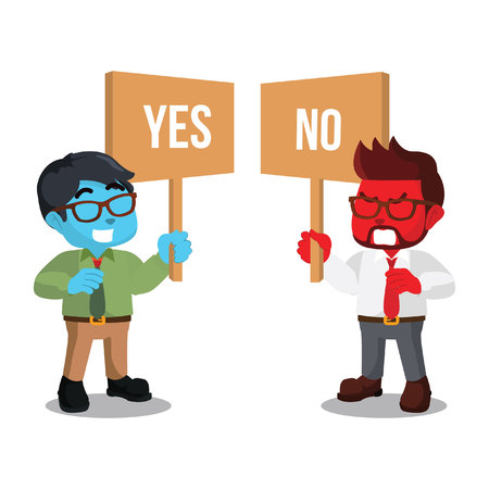 Businessman holding sign yes or no– stock illustration Illustration