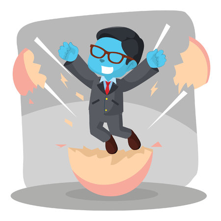 Businessman hatching from egg– stock illustration