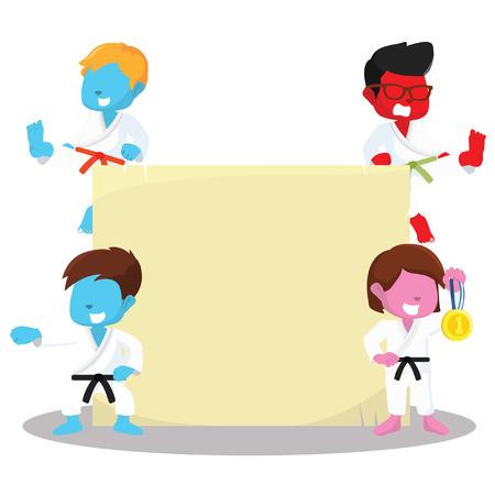 Color skin karate kids and sign– stock illustration