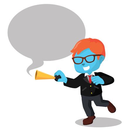 Blauwe zakenman toetert met callout - stockillustratie