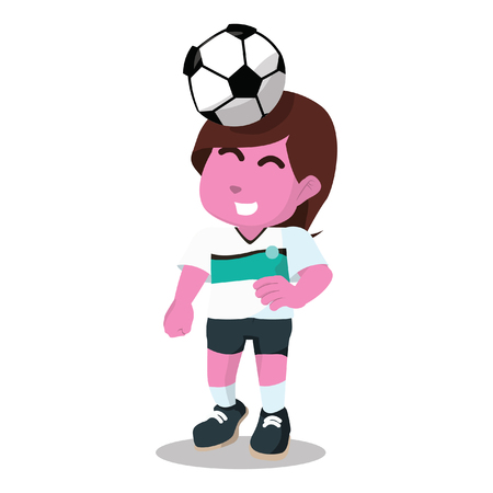 Pink female soccer player putting ball on his head– stock illustration