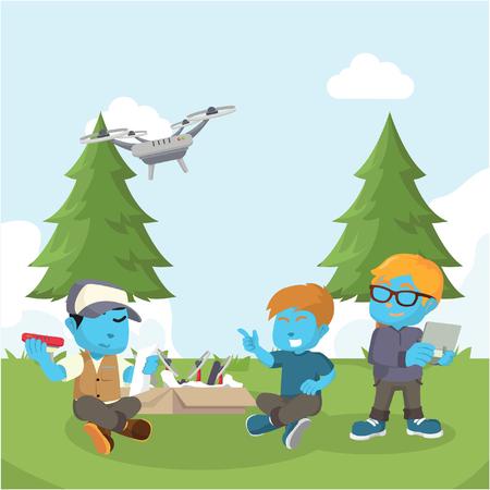 Garçon bleu aidant un ami à assembler illustration de drone-stock Banque d'images - 93311704