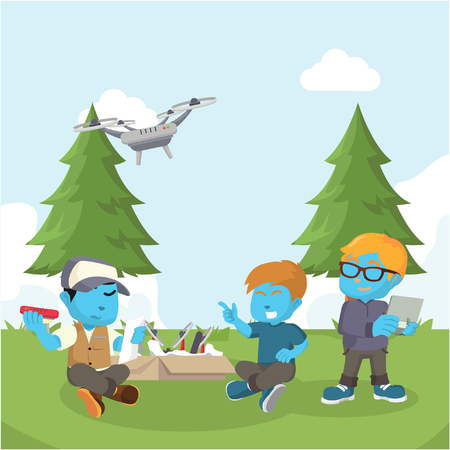 Blue boy helping friend to assemble drone– stock illustration Illustration