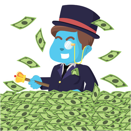 Blue rich man happy in sea of money– stock illustration