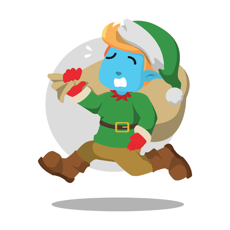 Christmas elf rushing illustration design– stock illustration Ilustração