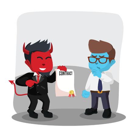 Rode zakenman kwaad aanbieden van contract aan blauwe zakenman-voorraad illustratie